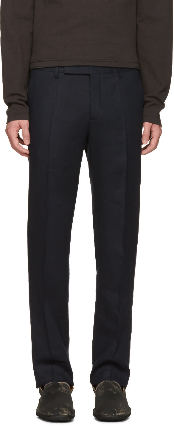 Maison Margiela Navy Pleated Trousers
