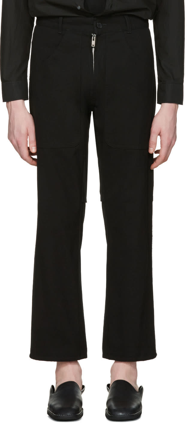Maison Margiela Black Exposed Zipper Trousers