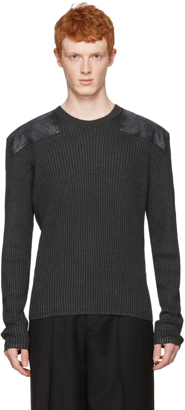 Maison Margiela Grey Ribbed Patches Pullover