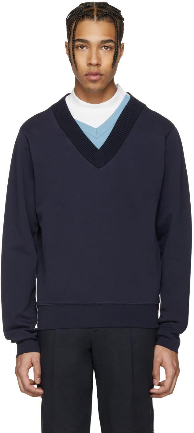 Maison Margiela Navy Layered Collar Pullover