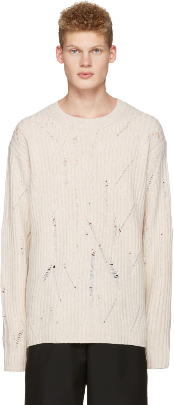 Maison Margiela Off-white Oversized Distressed Sweater