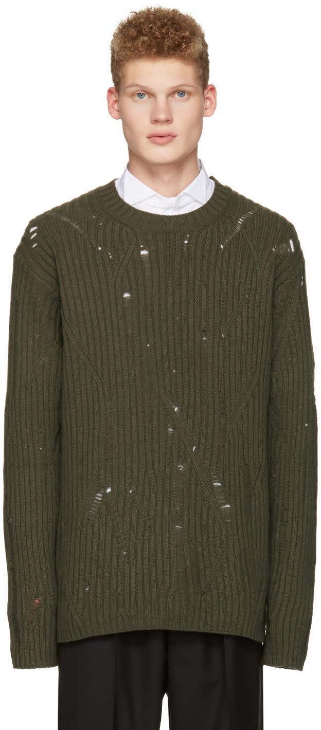 Maison Margiela グリーン オーバーサイズ ディストレス セーター