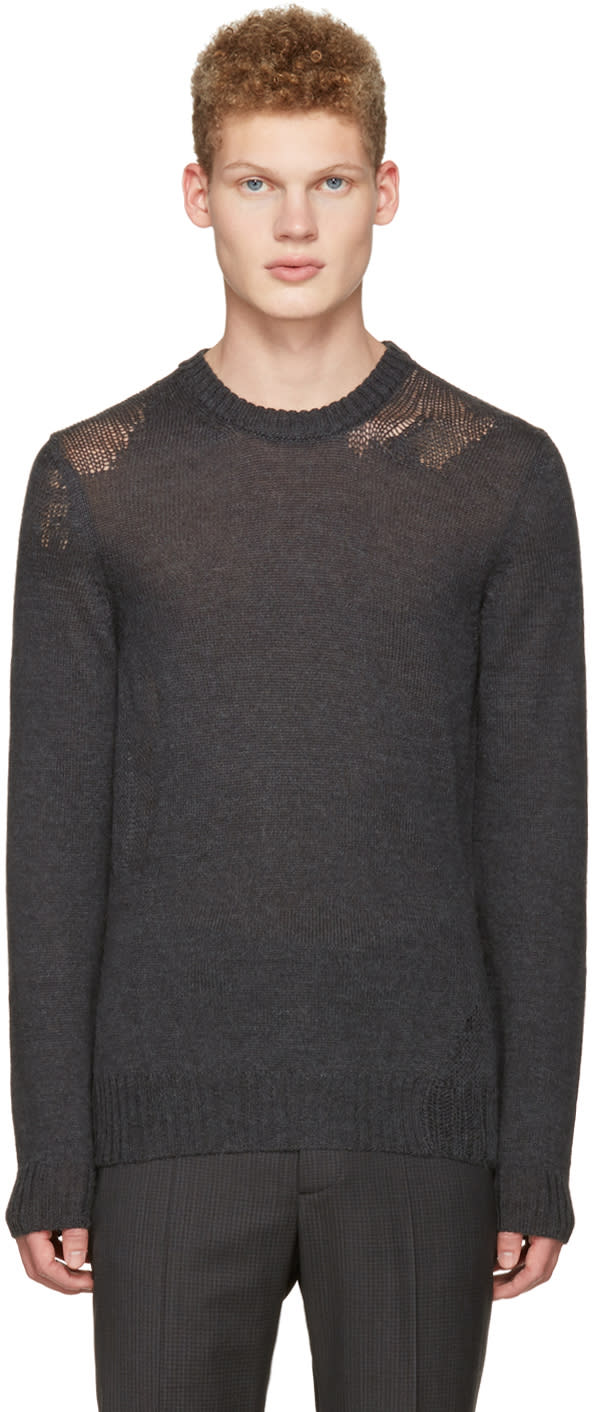 Maison Margiela Grey Mohair Distressed Sweater
