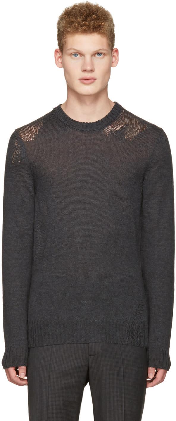 Maison Margiela Grey Mohair Distressed Sweater