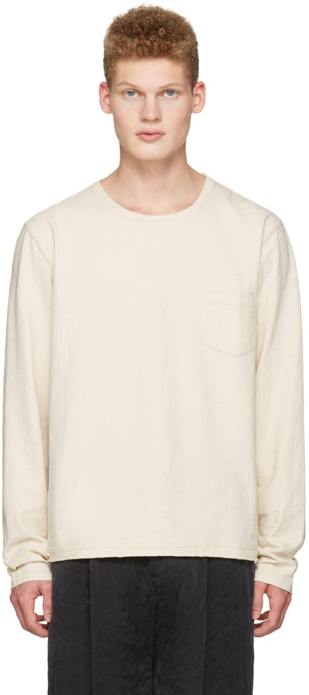 Maison Margiela Ivory Cropped Pocket T-shirt