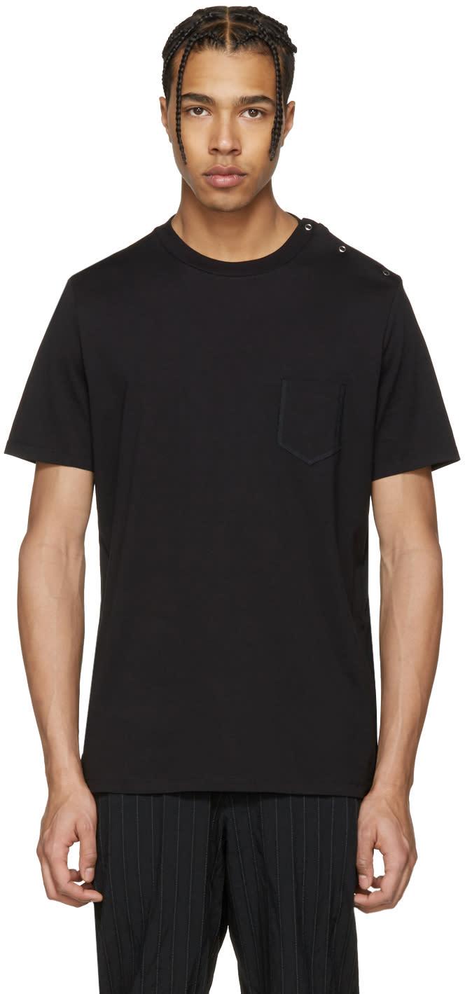 Maison Margiela Black Shoulder Snap T-shirt