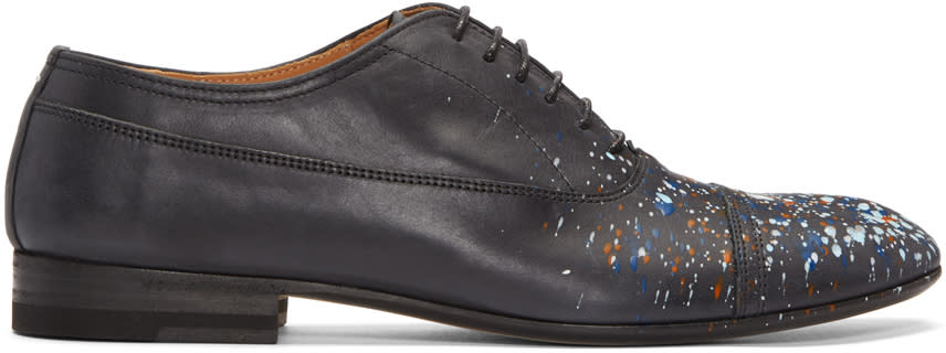Maison Margiela Black Leather Paint Splatter Oxfords