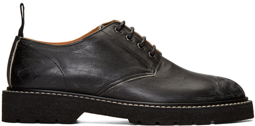 Maison Margiela Black Leather Distressed Derbys