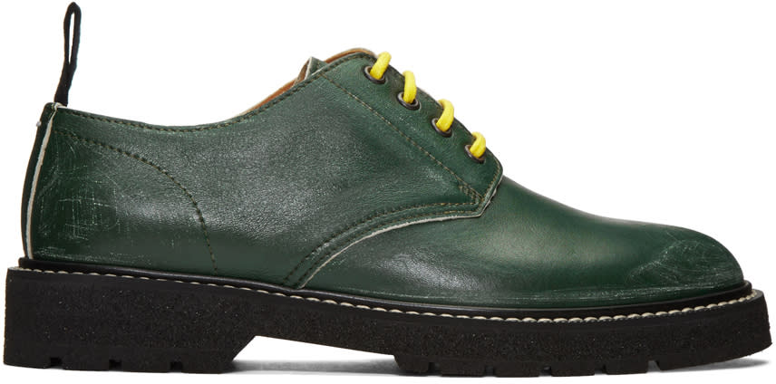 Maison Margiela Green Leather Distressed Derbys