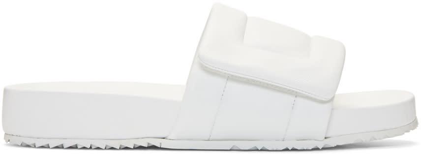 Maison Margiela White Leather Slide Sandals