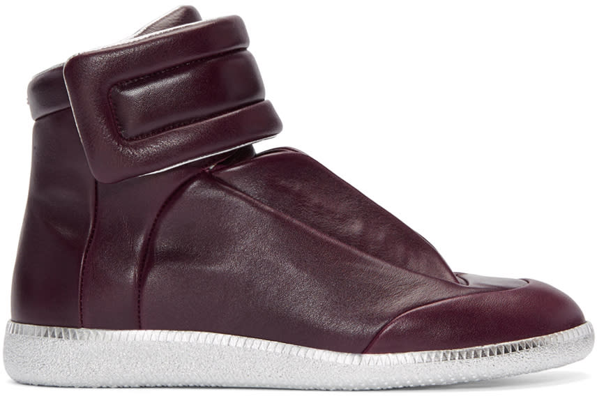 Maison Margiela Burgundy and Silver Future High-top Sneakers