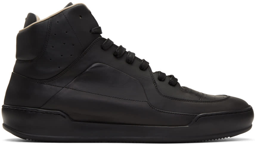 Maison Margiela Black Leather High-top Sneakers