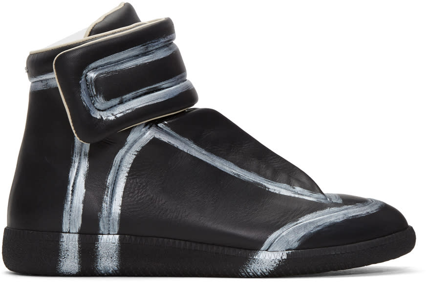 Maison Margiela Black and Silver Future High-top Sneakers
