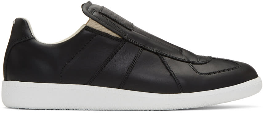 Maison Margiela Black Laceless Replica Slip-on Sneakers