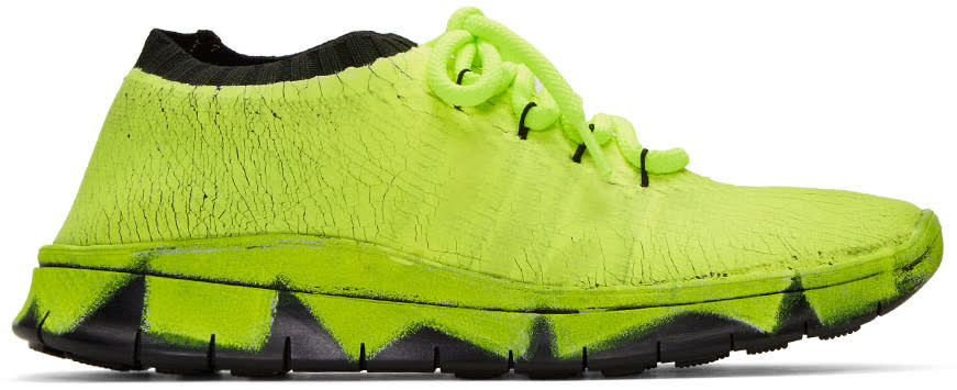 Maison Margiela Green Painted Knit Sneakers