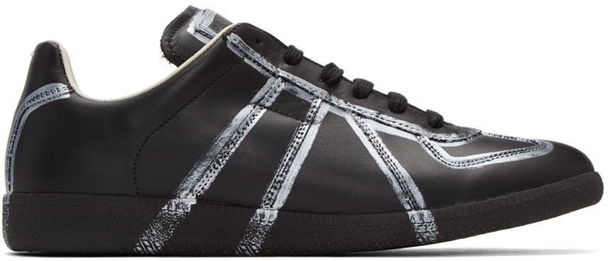 Maison Margiela Black and Silver Painted Lines Replica Sneakers