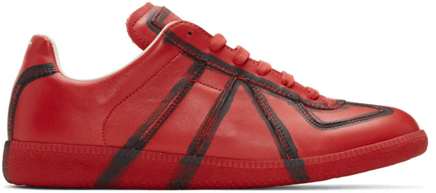 Maison Margiela Red and Black Painted Lines Replica Sneakers