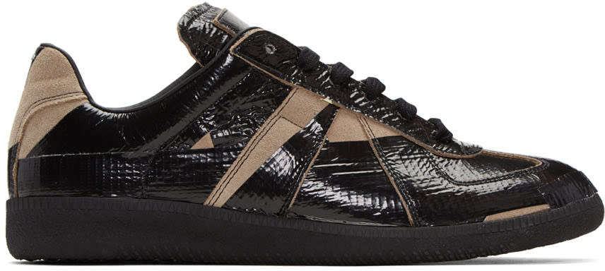 Maison Margiela Black and Taupe Tape Replica Sneakers