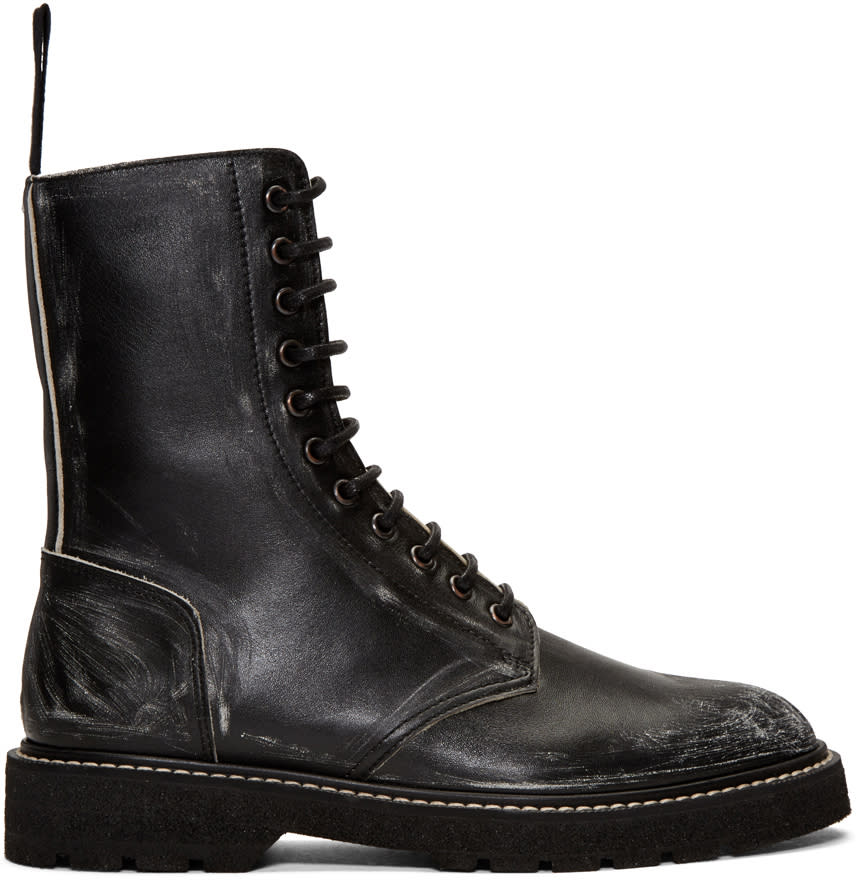 Maison Margiela Black Leather Distressed Boots
