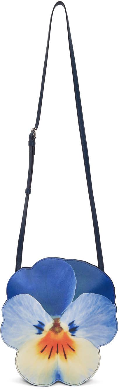 Image of Christopher Kane Blue Pansy Shoulder Bag