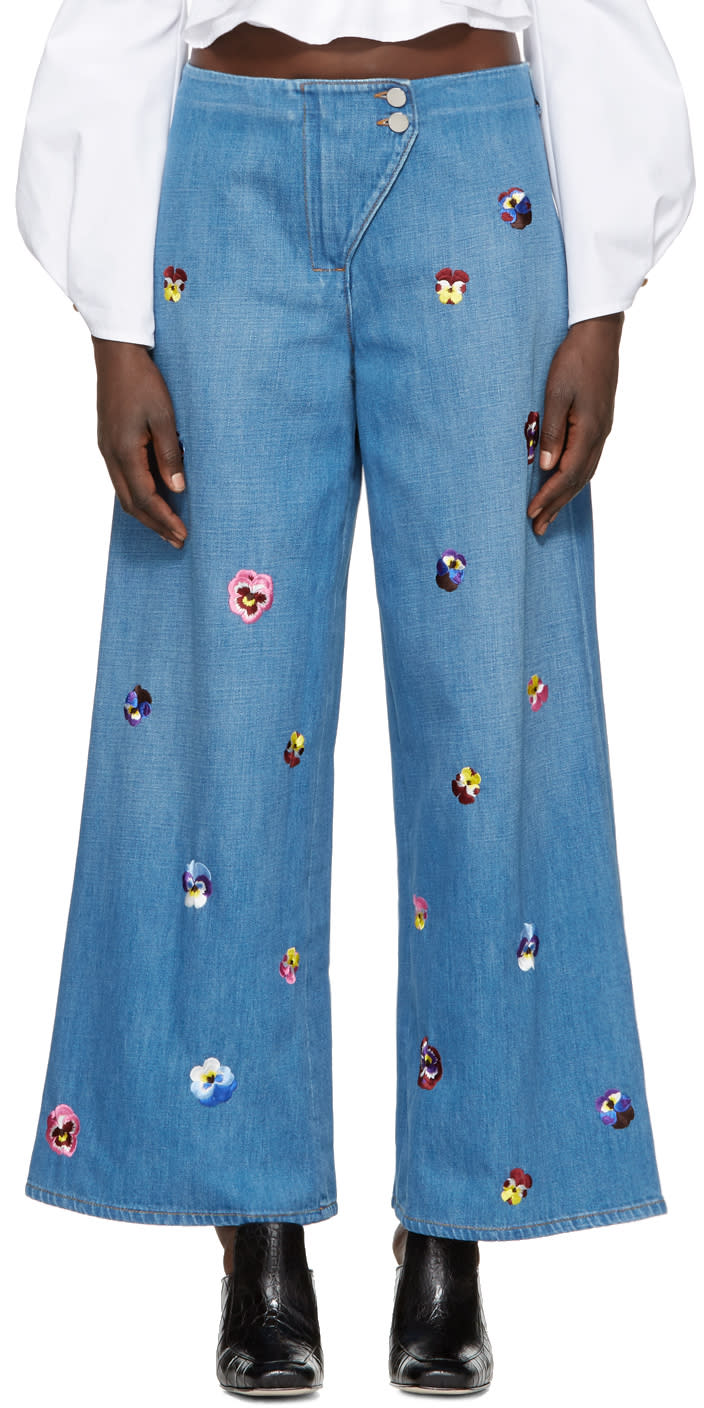 Image of Christopher Kane Indigo Embroidered Baggy Jeans