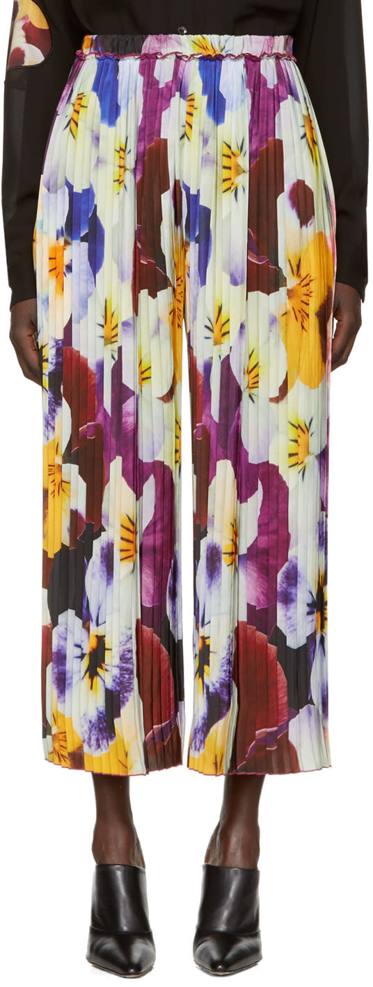 Christopher Kane Multicolor Pleated Pansy Trousers