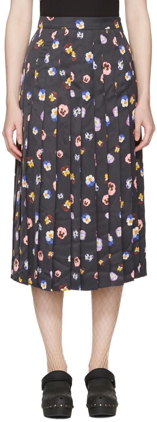 Christopher Kane Black Ditsy Pleated Skirt