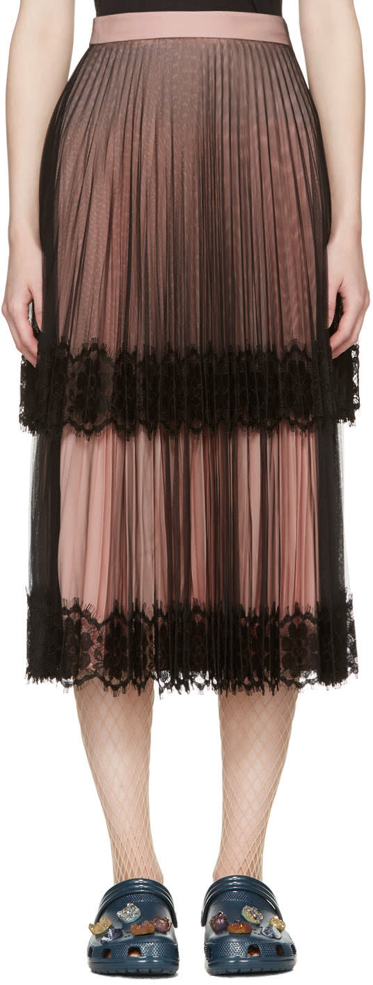 Christopher Kane Black and Pink Layered Tulle Skirt