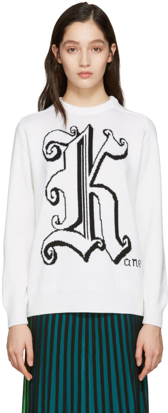 Image of Christopher Kane Ivory Maxi Logo Sweater