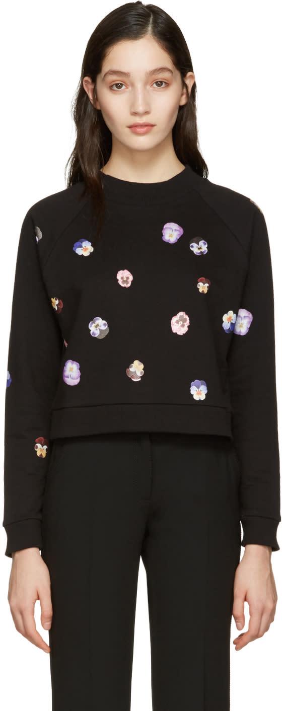 Image of Christopher Kane Black Pansy Floral Pullover