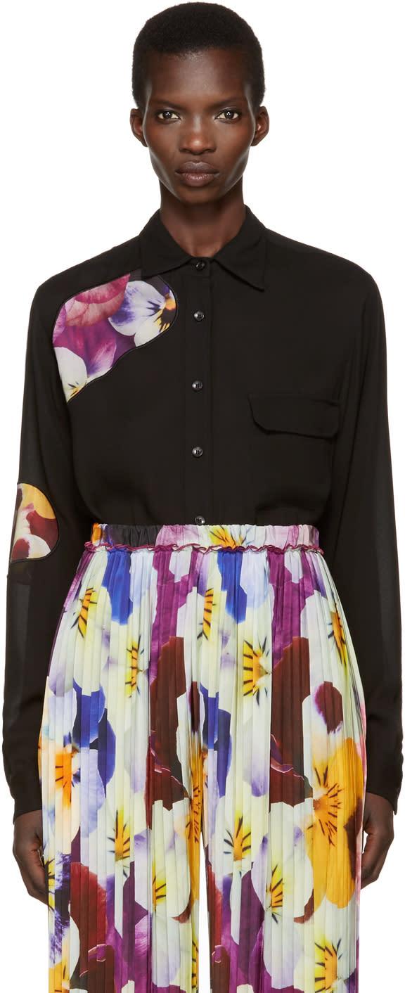 Image of Christopher Kane Black Floral Cut-out Shirt