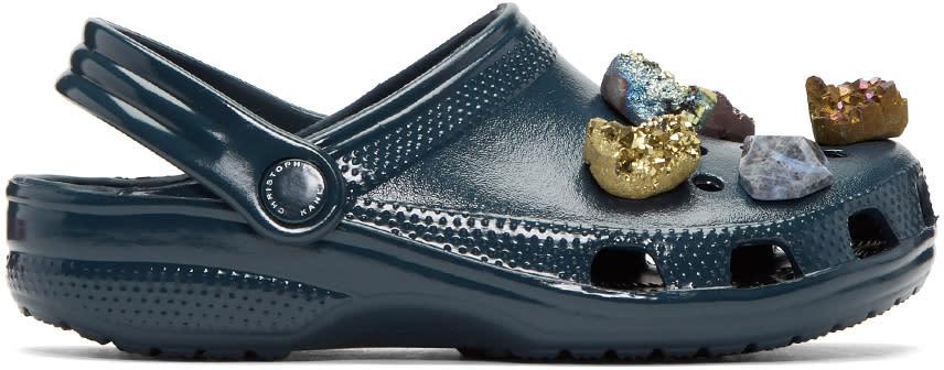 Christopher Kane Navy Stone Embellished Crocs Clogs
