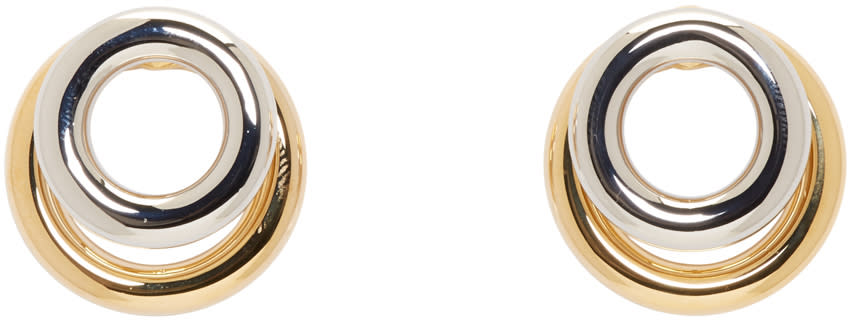 Alexander Wang Silver and Gold Double Ring Earrings