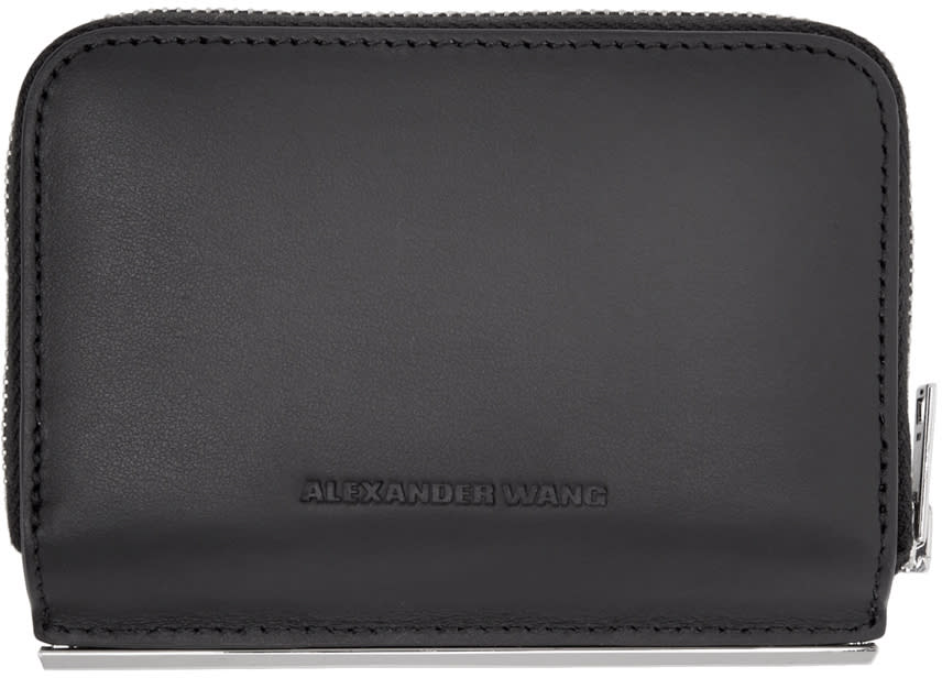 Alexander Wang Black Dime Compact Bar Wallet