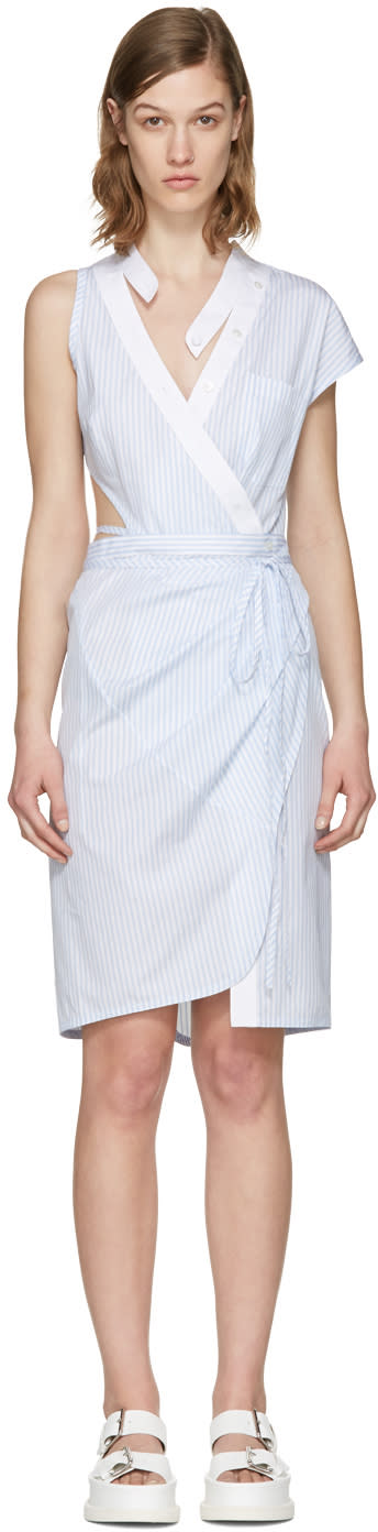 Alexander Wang Blue Striped Asymmetric Wrap Dress