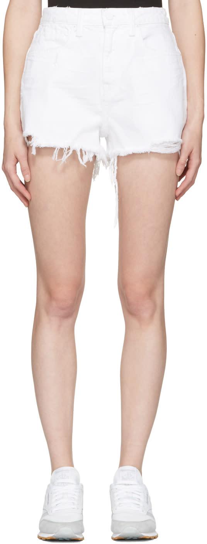 Alexander Wang White Denim Bite Shorts