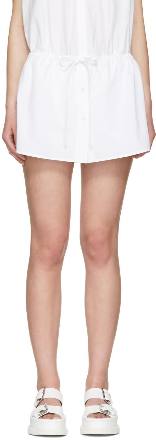 Alexander Wang White Layered Poplin Shorts