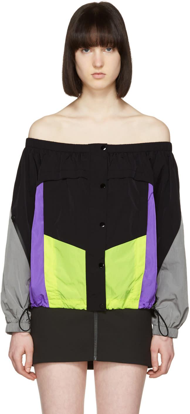 Alexander Wang Black Colorblocked Off-the-shoulder Blouse