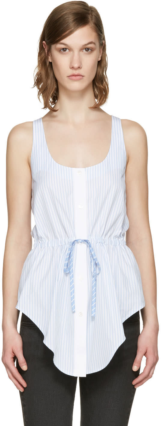 Alexander Wang Blue and White Striped Oxford Top
