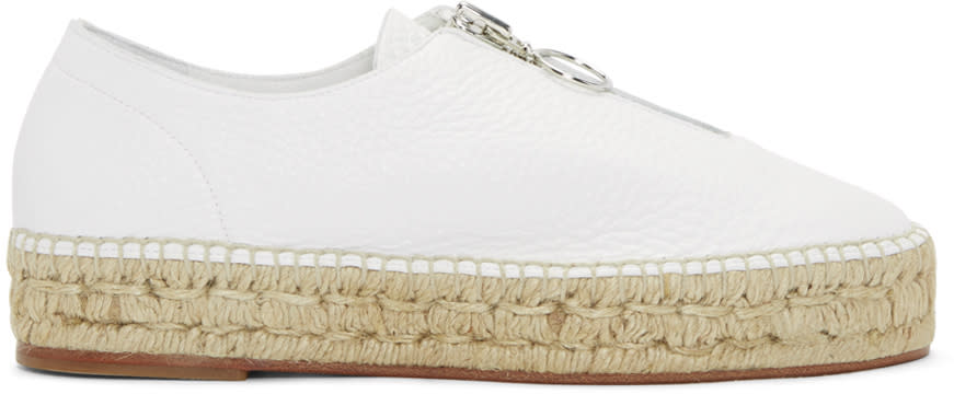 Alexander Wang White Leather Zip-up Devon Espadrilles