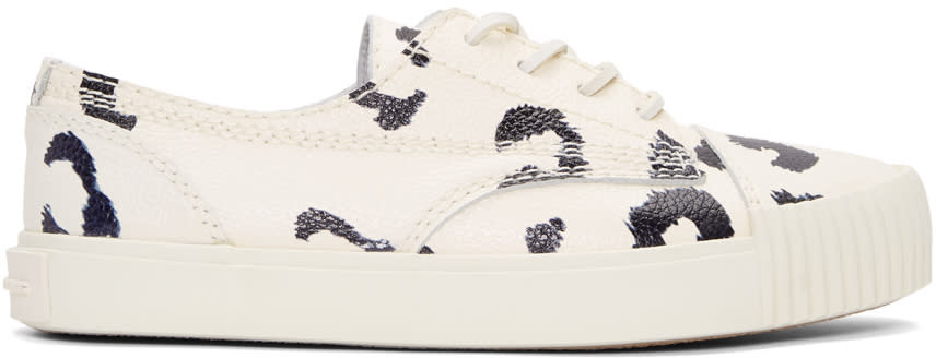 Alexander Wang White and Black Leopard Perry Sneakers