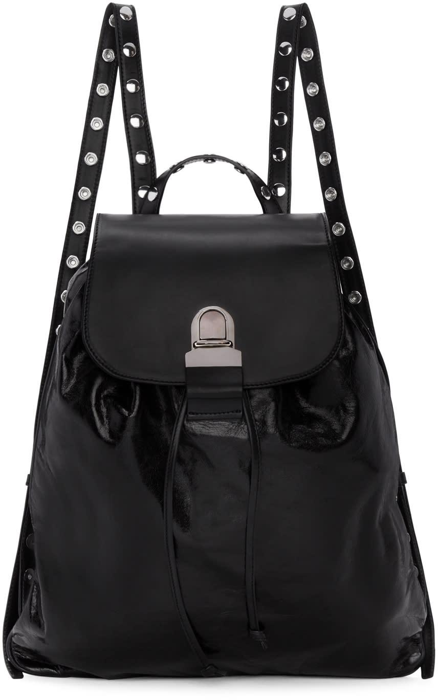 Mm6 Maison Margiela Black Leather Backpack