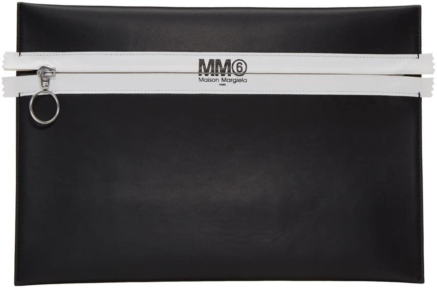 Mm6 Maison Margiela Black Faux-leather Zip Pouch