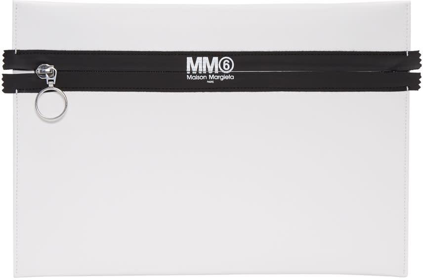 Mm6 Maison Margiela White Faux-leather Pouch