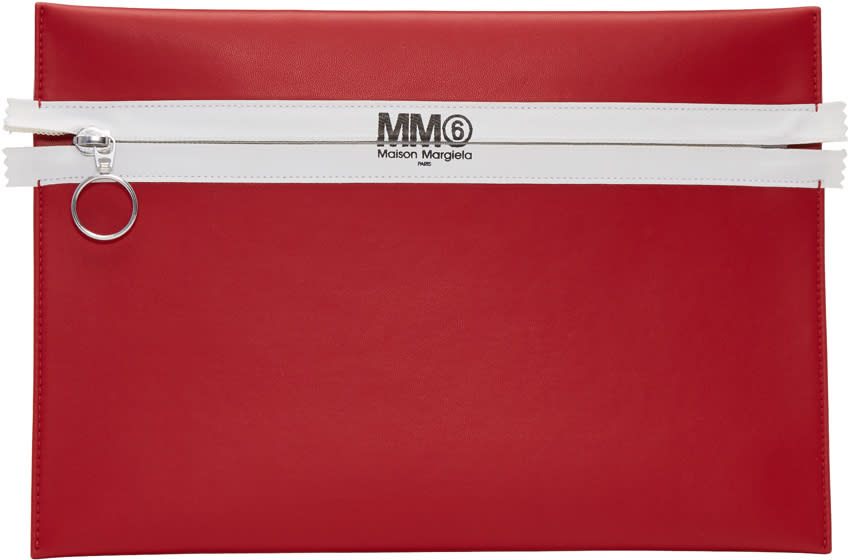 Mm6 Maison Margiela Red Faux-leather Zip Pouch
