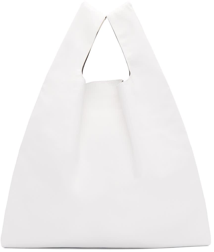 Mm6 Maison Margiela White Faux-leather Tote