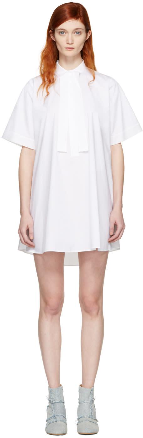 Mm6 Maison Margiela White Tie Collar Dress