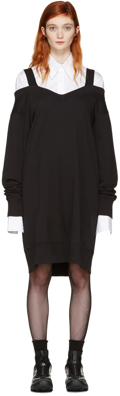 Mm6 Maison Margiela Black Off-the-shoulder Dress