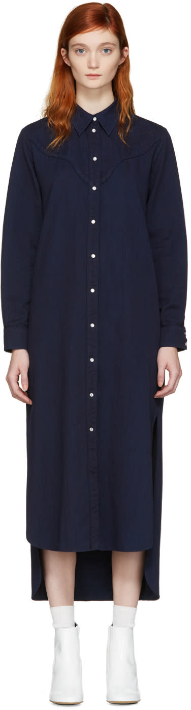 Mm6 Maison Margiela Blue Denim Shirt Dress