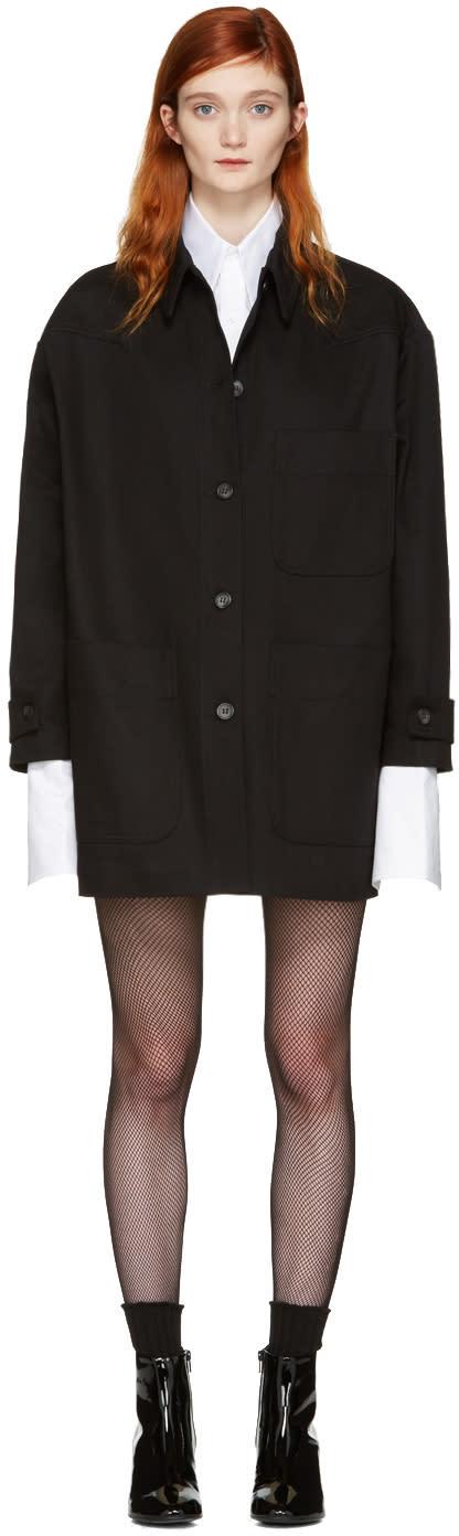 Mm6 Maison Margiela Black Denim Oversized Belted Jacket